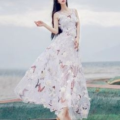 MUSI - Butterfly Embroidered Flower Accent Sleeveless Maxi Dress
