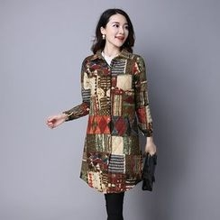 Fancy Show - Long-Sleeve Printed Long Blouse