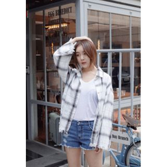 BBORAM - Fringe-Hem Plaid Shirt