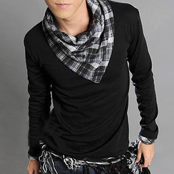 Free Shop - Inset Scarf Long-Sleeved T-Shirt