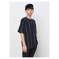 HOTBOOM - Round-Neck Elbow-Sleeve Stripe T-Shirt
