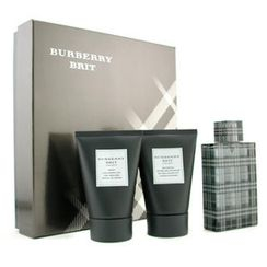 Burberry - Brit Coffret: Eau De Toilette Spray 100ml/3.3oz + Body Cleansing Gel 100ml/3.3oz + After Shave Balm 100ml/3.3oz