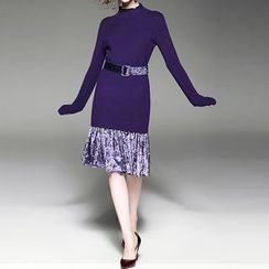 Alaroo - Mock Two-Piece Knit Dress with Velvet Belt
