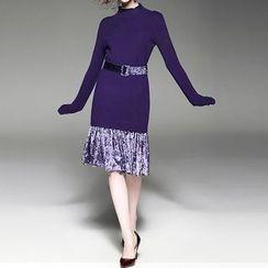 Alaroo - 假兩件針織連衣裙連絲絨腰帶