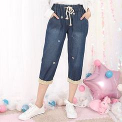 Fairyland - Cat Embroidered Drawstring Capri Jeans