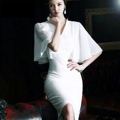 Eleganza - Bell Sleeve V-Neck Bodycon Dress