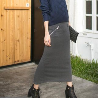 Tokyo Fashion - Slit-Back Zip Pencil Maxi Skirt