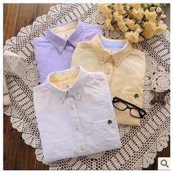 Rosadame - 長袖三葉草刺繡襯衫