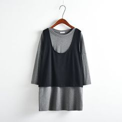 Edelweiss - 長袖仿兩件T恤裙