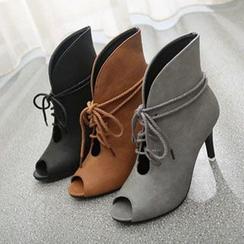 BAYO - Peep-toe Heeled Ankle Boots