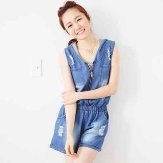D.P-Shop - Distressed Hooded Denim Playsuit