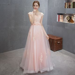 MSSBridal - Embellished Cap-Sleeve Maternity A-Line Evening Gown