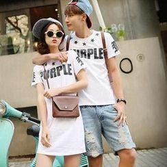 Evolu - Short-Sleeve Lettering Couple T-Shirt