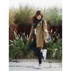 hellopeco - High-Neck Drop-Shoulder Coat