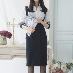 Aurora - Set: Long-Sleeve Contrast-Stripe Blouse + Double-Breasted Jumper Skirt