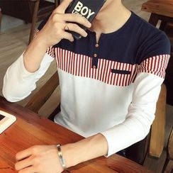 Alvicio - Split-neck Panel Long-Sleeve T-shirt