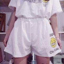 Cerauno - Smiley Print Wide Leg Shorts