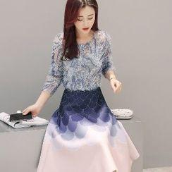 Romantica - Set: Sequined Top + Printed Skirt