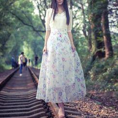 MUSI - Floral Print Midi Chiffon Dress