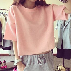 Fashion Street - Set: Plain Short-Sleeve T-shirt + Sweatpants