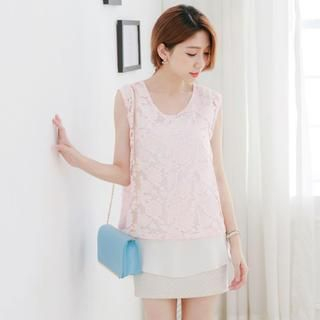 Tokyo Fashion - Floral Sheer-Panel Chiffon Sleeveless Top