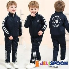 JELISPOON - Boys Set: Contrast-Trim Jacket + Sweatpants