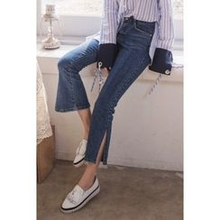 migunstyle - Slit-Side Boot-Cut Jeans