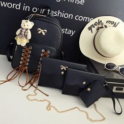 Little Days - 套裝: 繫帶蝴蝶結飾背包 + 單肩包 + 手包 + 卡套