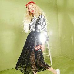 ELF SACK - Set: Striped Top + Lace Jumper Dress