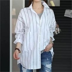 CHICFOX - Striped Loose-Fit Long Shirt