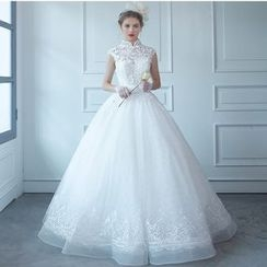 MSSBridal - Stand Collar Wedding Ball Gown