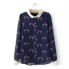 Flower Idea - Crane Print Chiffon Shirt