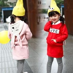 Merry Go Round - Kids Set: Rabbit Ear Hoodie + Inset Skirt Striped Leggings