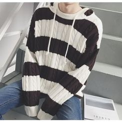 Bestrooy - Striped Cable-Knit Hoodie