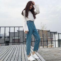 Jeans Kingdom - Washed Straight Leg Asymmetrical Hem Jeans