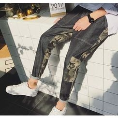 Bestrooy - Camouflage Panel Straight-Cut Jeans