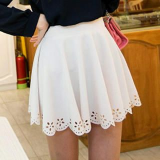 Tokyo Fashion - Perforated-Hem Pleated Skirt