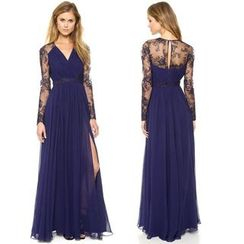 Chika - Lace-Panel Maxi Dress