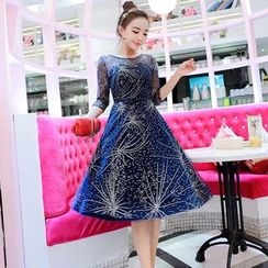 Soraka - Rhinestone-Accent Maxi Dress
