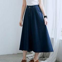 BAIMOMO - A-Line Denim Long Skirt