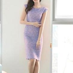 Jolly Club - Cap-Sleeve Sheath Lace Dress