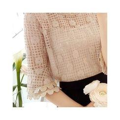 LEELIN - Set: Short-Sleeve Lace Top + Camisole Top