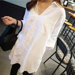 Lovebirds - Tab-Sleeve Long Blouse