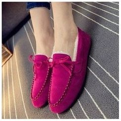 EUNICE - Faux-Suede Furry-Lined Moccasins
