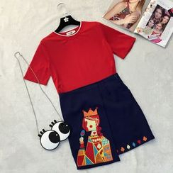 RUI - Set : Short-Sleeve Top + Embroidered Skirt