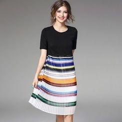 Y:Q - Pleated Stripe Panel Short-Sleeve Dress