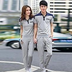 Lovebirds - Set: Two Tone Couple Matching Polo Shirt + Sweatpants