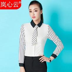 Skyheart - 条纹衬衫 / 套装: 条纹衬衫 + 铅笔裙 / 套装: 条纹衬衫 + 西裤