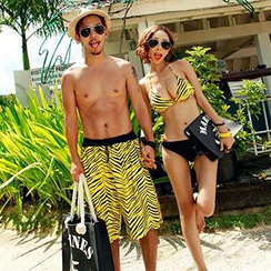Roseate - Couple Matching Stripe Bikini / Swim Trunks