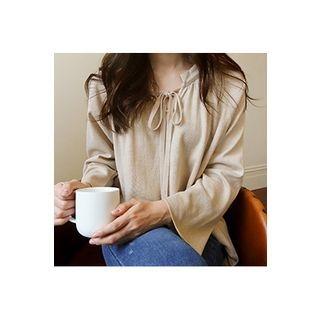 CHERRYKOKO - Tie-Neck Raglan-Sleeve Knit Top